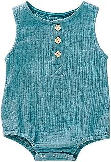 JUTOO Säuglingsbaby scherzt ärmellose Feste Spielanzug Bodysuit Kleidungs Ausstattungen 3-24M