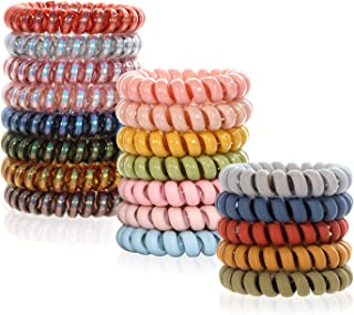 Spiral Hair Ties No Crease, Colorful Coil Hair Ties for Women Phone Cord Hair Ties Elastics Accessories 20pcs - Including Fluorescent Series, Matte Series and Candy Colors Series