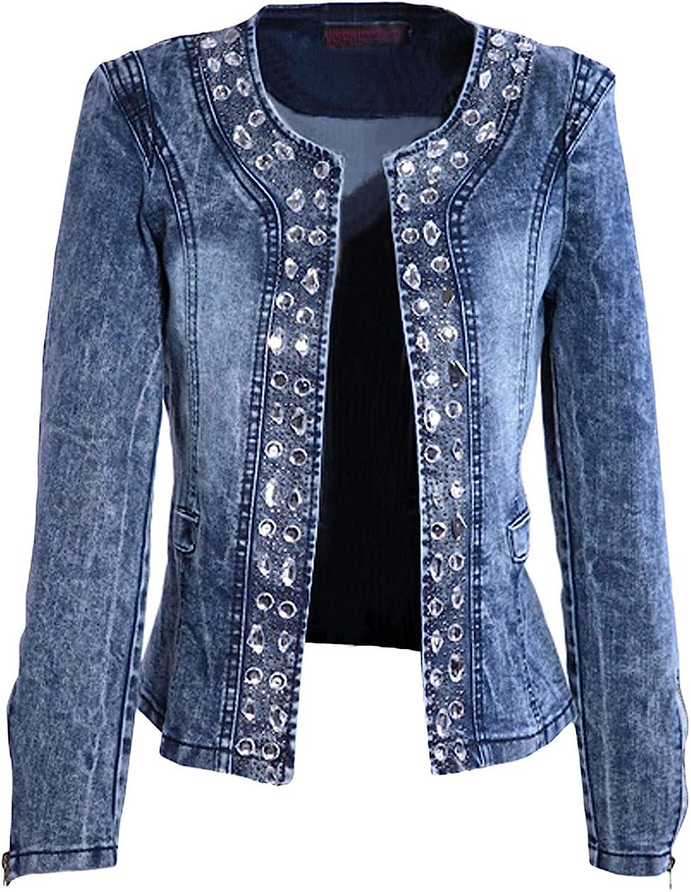 CHARTOU Women's Retro Slim Fit Long Sleeve Collarless Rhinestone Denim Jacket