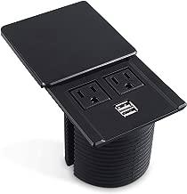 Desktop Power Grommet Data Center Desk Outlet Socket with 2 USB Ports Hidden Design (Black)