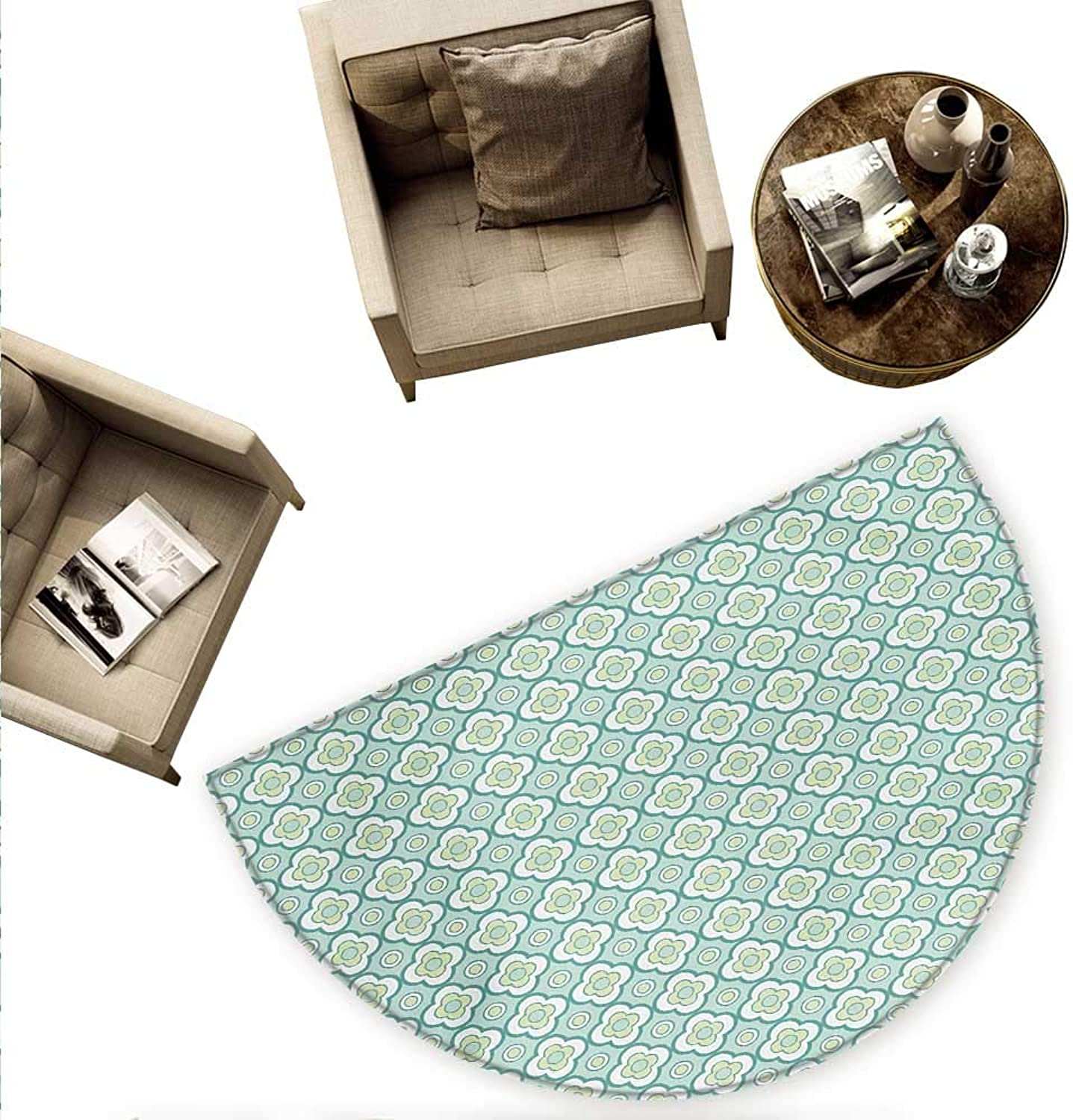 Geometric Semicircular Cushion Floral Pattern with Circles and Curved Shapes Abstract Blooming Nature Entry Door Mat H 78.7  xD 118.1  Pale Green Sea Green