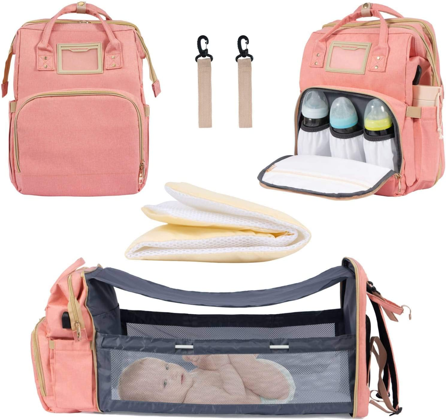 Diaper Bag Backpack with Bassinet, Pink Baby Bags for Mom, Portable Baby Diaper Changing Bed with USB Charging Port