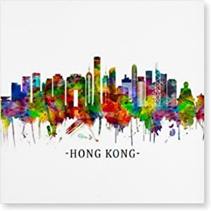 Hong Kong China Skylines Posters and Prints Wall Pictures Living Room Home Decoration Creative Decorative Painting Wall Art Decor (16x16in) Frameless