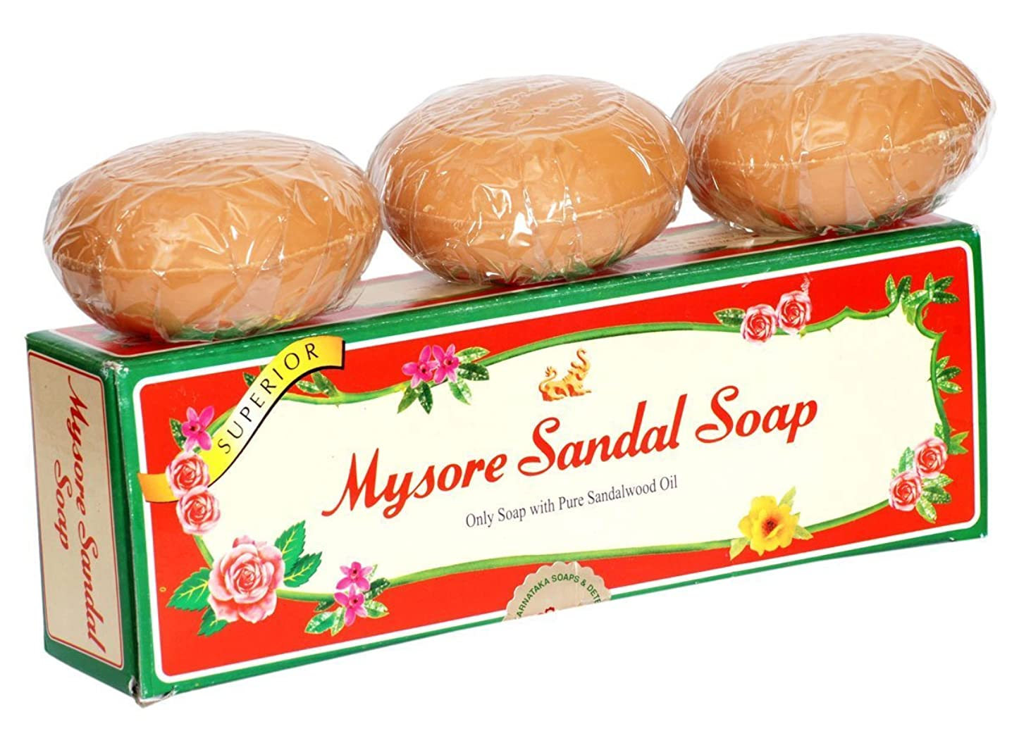 身元スプーン全体Mysore Pure Natural Sandalwood Oil Ayurvedic Soap - 3 x 150g bars in 1 gift pack