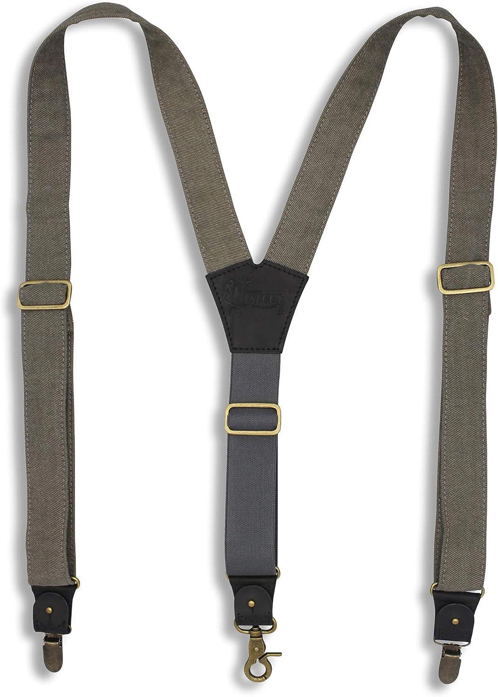 Suspenders Gray Canvas Wide 1.36 inch | Wiseguy Original