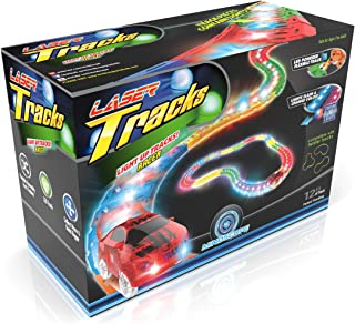 Mindscope LED Laser Tracks by Twister Tracks 12 Feet of Light up Flexible Track + 1 Light up Race Car Each Individual Track Piece Contains Lights (Standard Color System)