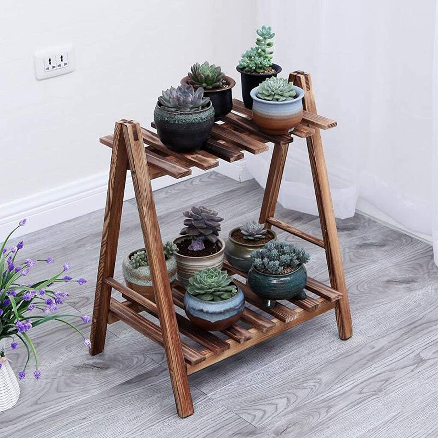 Gifts & Decor Plant Stand Shelf Flower Racks Solid Wood Flower Stand Plant Stand Indoor Balcony Flower Stand Multi-Layer Floor Shelf Three-Dimensional Flower Stand (color   Brown, Size   Small)