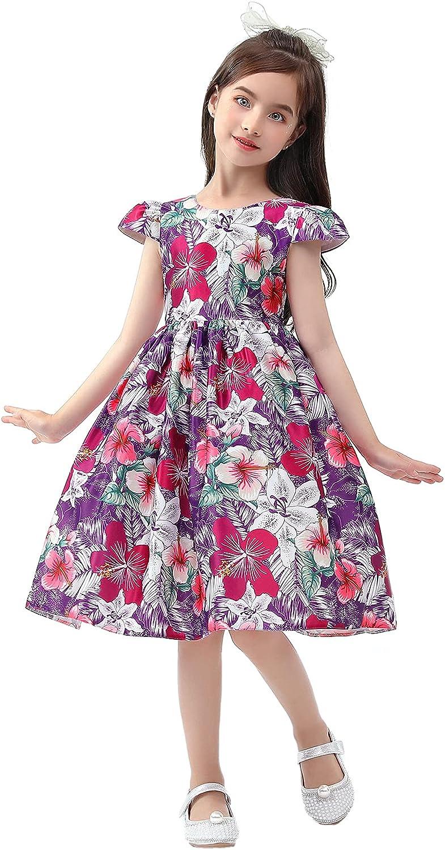 Girls Dress Toddler Girl Print Dress, Knee Length Ruffle Halter Sleeveless Kids Casual Beach Party Dresses1-6 Years