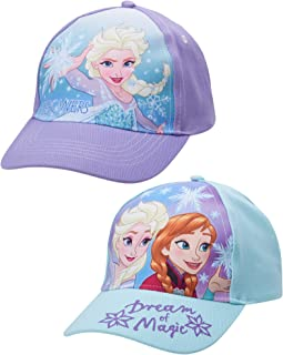 Girls' Frozen Baseball Caps - 2 Pack Elsa and Anna Glitter Hat with Faux Ponytail Set (Ages 4-7)