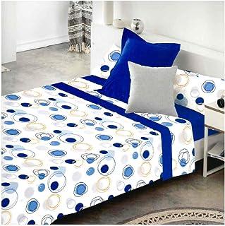 COTTON ARTean Juego de sabanas LLANES Azul Cama de 150 x 190/200. 50% ALGODÓN-50% Poliester.