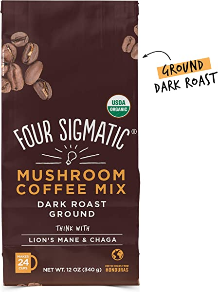 Four Sigmatic Mushroom Ground Coffee USDA Organic And Fair Trade Coffee With Lions Mane And Mushroom Powder Focus Wellness Vegan Paleo 12 Oz Dark Roast