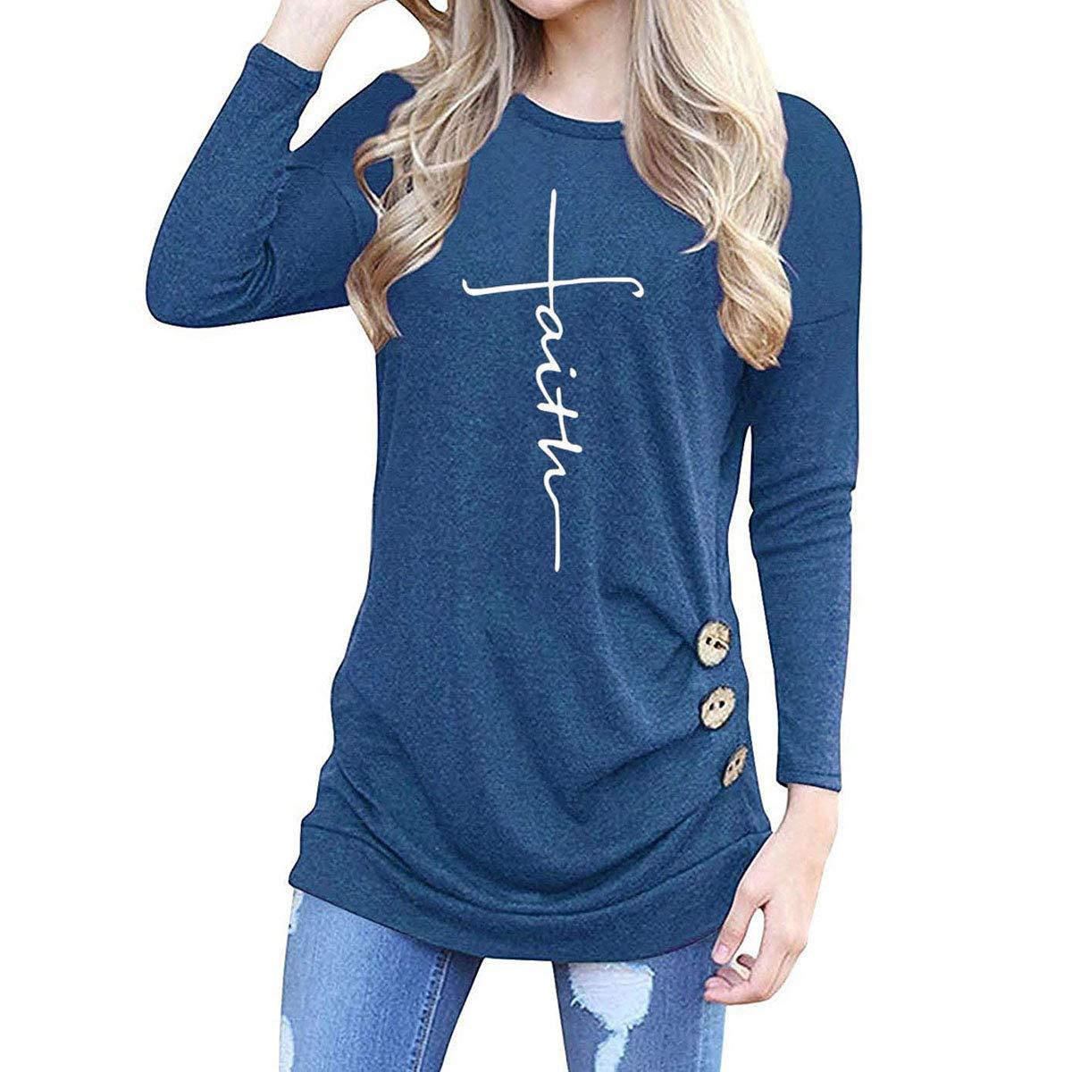 UK Ladies Hoodie Women/'s Sweatshirt Faith Print Long Sleeve Pullover Jumper Top