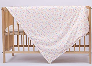Baby Blanket for Girls Printed Unicorn with Dotted Backing Double Layer Crib Blanket Pink(45x60 Inches)