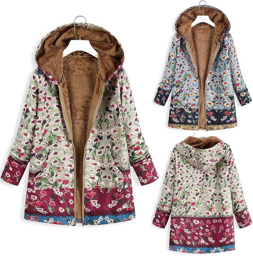 Frauen Strickjacke Jacke Mantel Winter Warm Outwear Blumendruck Kapuzen Taschen Vintage Oversizes 10 Grün