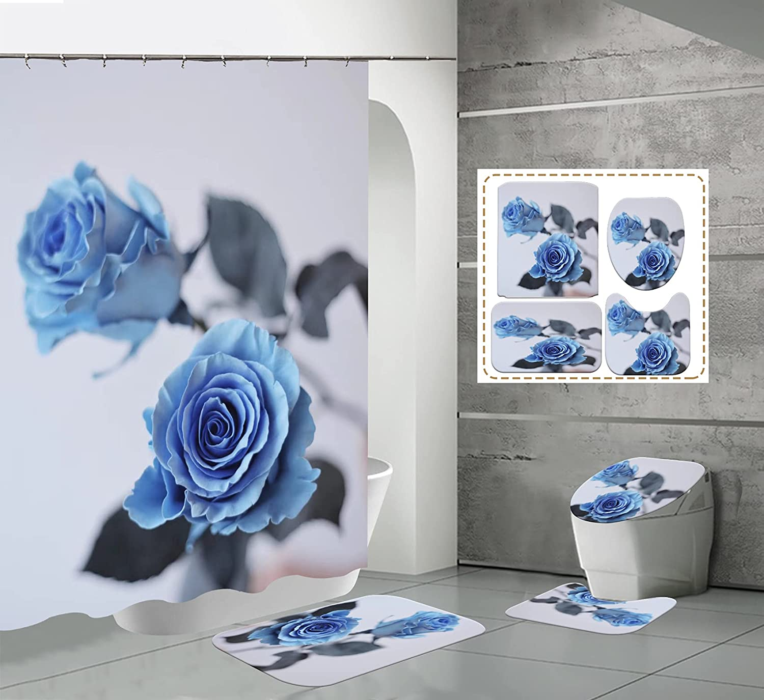 Blue Rose Bathroom Philadelphia Mall Sets with and Rugs Accesso Shower Nashville-Davidson Mall Curtain