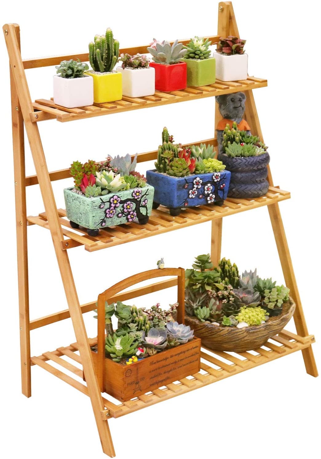 Ufine Bamboo Ladder Plant Stand 3 Displ Tier Pot Max 2021new shipping free shipping 74% OFF Flower Foldable