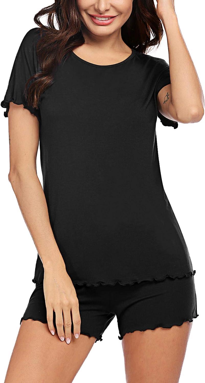 Ekouaer Women's Ruffle Seams Shorts Pajama Set Short Sleeve Sleepwear Nightwear Pjs Loungewear S-XXL