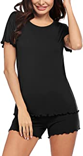 Ekouaer Womens Pajama Set Printed Short Sleeve Striped Sleepwear Front Pockets Pjs Sets (S-XXL)