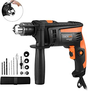Hammer Drill, TACKLIFE 1/2-Inch Electric Drill, 12 Drill Bits Set, 2800 RPM, Variable-speed Trigger, 360° Rotating Handle, For Brick, Wood, Steel, Masonry - PID01A