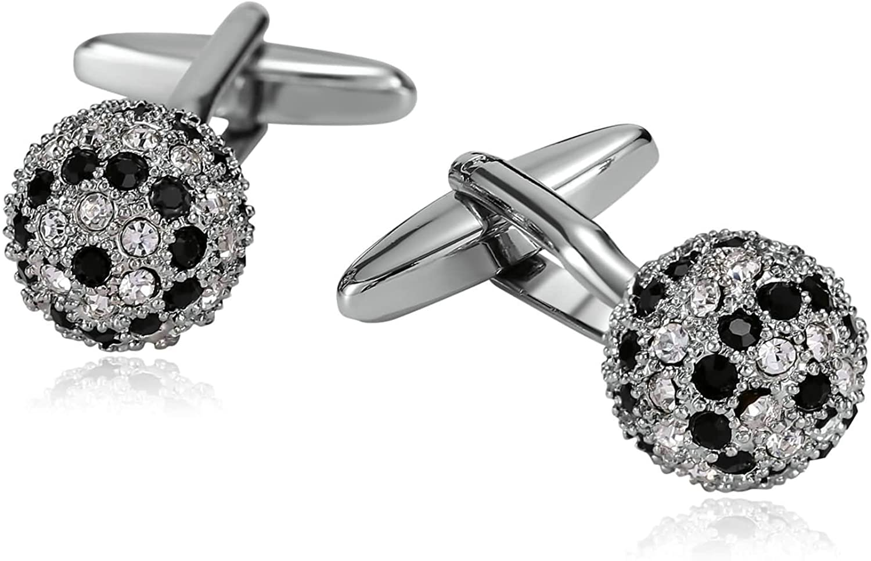 Mens Cufflinks Stainless Steel CZ Ball Fireball Silver Black 1.5X1.5CM Dad Jewelry Box Fancy Elegant Unique Aooaz