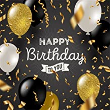 LFEEY 8x8ft Vinyl Photo Backgrounds Studio White Golden Black Balloons Ribbon Confetti Background Kids Adults Girls Boys Happy Birthday Party Photography Backdrop Photo Booth Props