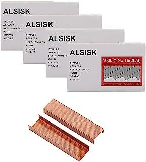 Alsisk 26/6 Standard Staples,1/4 Inch Leg,4 Boxes-4000, Rose Gold
