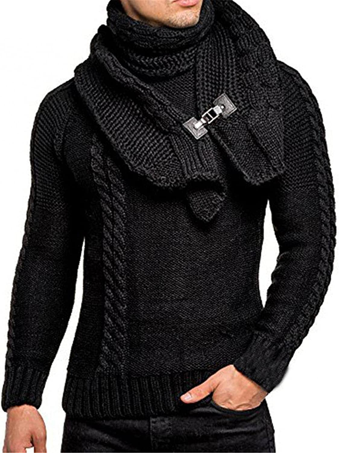 Men's Turtleneck Knitted Hoodies Sweaters Winter Long Sleeve Drawstring Casual Hoodies Pullover Jumper for Mens