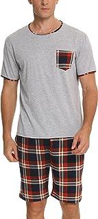 BESDEL Mens Pajama Set Pyjamas Short Sleeve Loungewear and Plaid Pants Crew Neck Lounge Sleepwear S--XXL