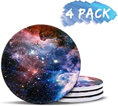 Coaster for Drinks Absorbent Galaxy Star Stone Coasters with Cork Base Stone Coasters set Suitable for Kinds of Mugs and Cups, Coffee, End Table and Night Stands, Set of 4