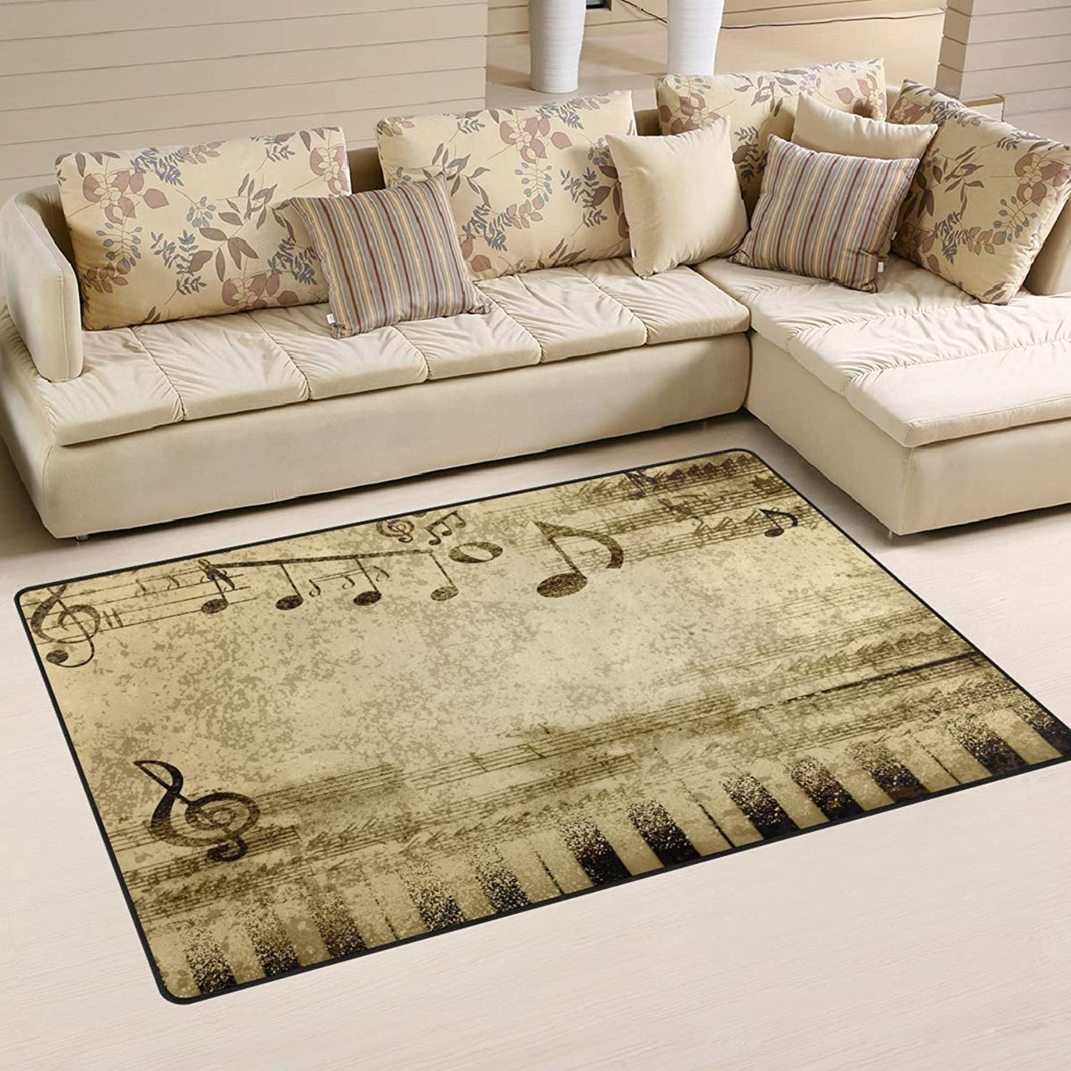 Area Rugs Doormats Music Notes On Old Paper 5'x3'3 (60x39 Inches) Non-Slip Floor Mat Soft Carpet for Living Dining Bedroom Home