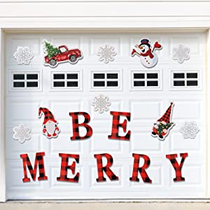 Anlionye Christmas Magnets Garage Door Decoration Stickers 17Pcs, Be Merry Snowman Magnetic Refrigerator Magnet Decals, Reusable Xmas Magnets Decorations for Buffalo Plaid Fridge Cabinets Door Decor