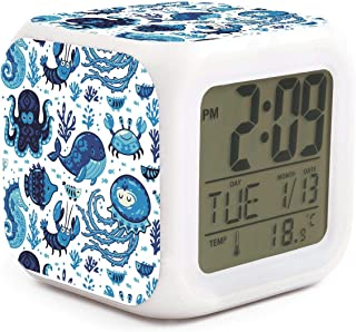 HOTMN Whale Octopus sea Life Nautical Blue Style Unique Multifunction Digital Desk Alarm Clock with LED Touch Light Desk Watch Table Clock