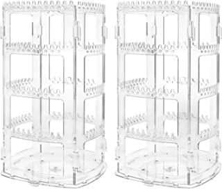 Suwimut 2 Pack Earring Holder and Jewelry Organizer, 360 Degree Rotating Acrylic Clear Display Stand for Girls Necklaces, ...