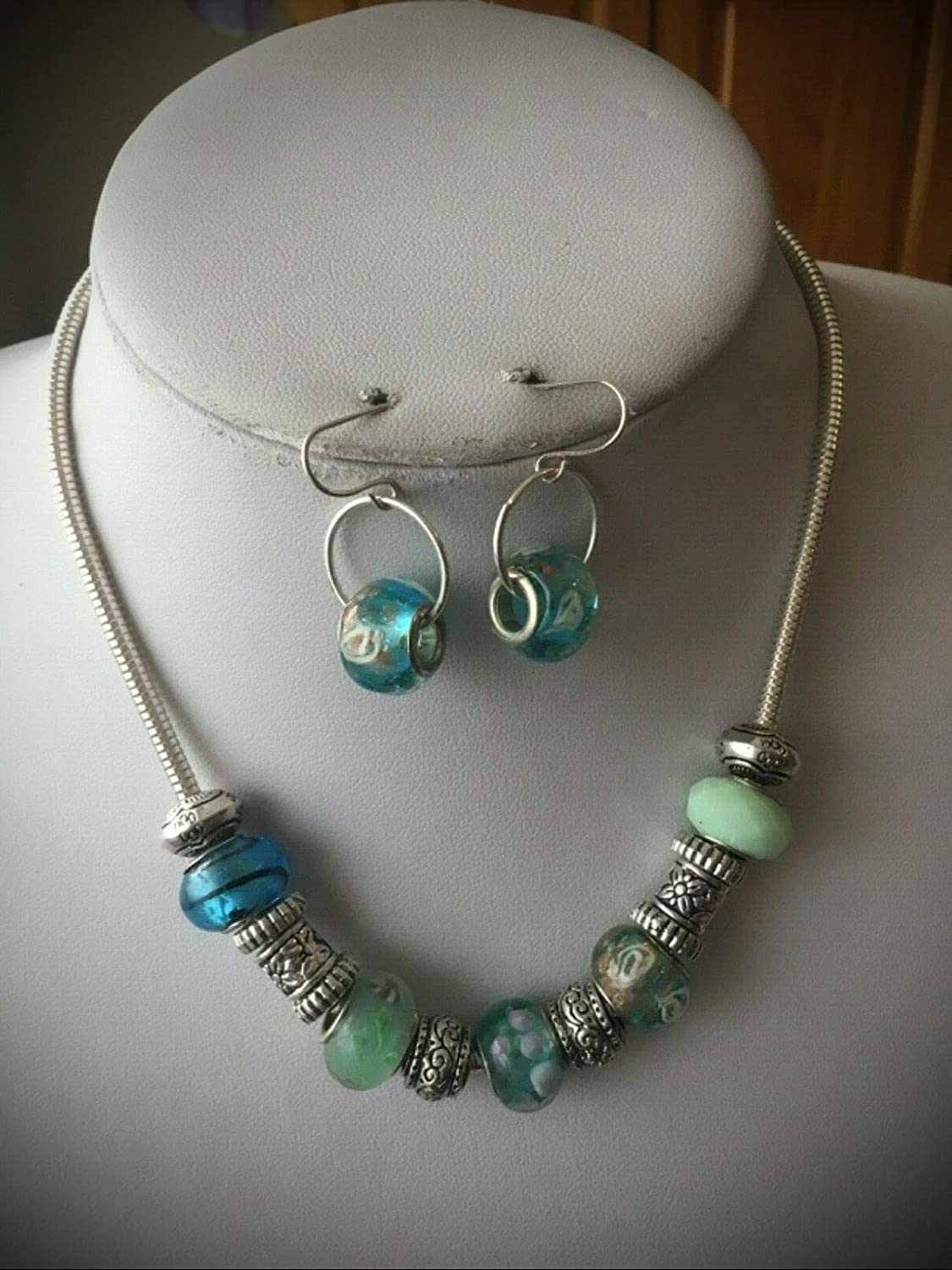 Designer Inspired Blue Teal Glass Sale Long-awaited special price Silver Bead Tone Earr Necklace