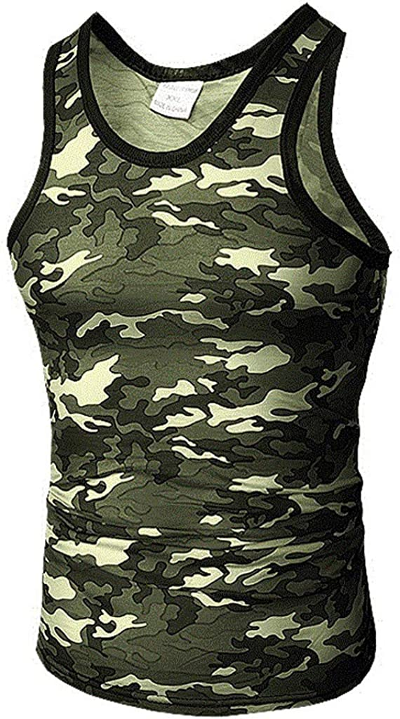 F_Gotal Mens Gym Workout Bodybuilding Stringer Tank Top Shirts Camouflage Casual Sleeveless Muscle Training T-Shirt Vest