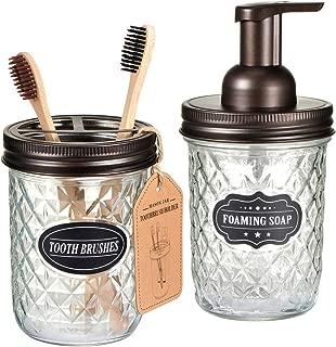 Mason Jar Bathroom Accessories Set - Includes Mason Jar Foaming Hand Soap Dispenser and Toothbrush Holder - Rustic Farmhouse Decor Apothecary Jars Bathroom Countertop and Vanity Organizer (Bronze)