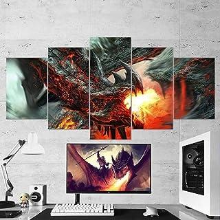 ARIE Wydruki na płótnie 5 sztuk nowoczesne dzieło sztuki smok ogień 5 paneli płótno sztuka ścienna do dekoracji domu i biu...