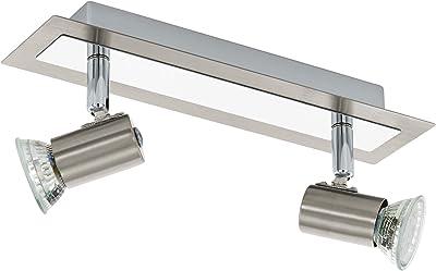 Eglo 90915 Applique/Plafonnier en Acier Inoxydable Rottelo avec 2 Ampoules Led Type Gu10 3 W 360 Lm (Incluses), Chrome Mat 28 X 7 cm