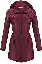 Hotouch Womens Lightweight Travel Trench Slightly Waterproof Raincoat Hoodie Windproof Hiking Coat Packable Rain Jacket