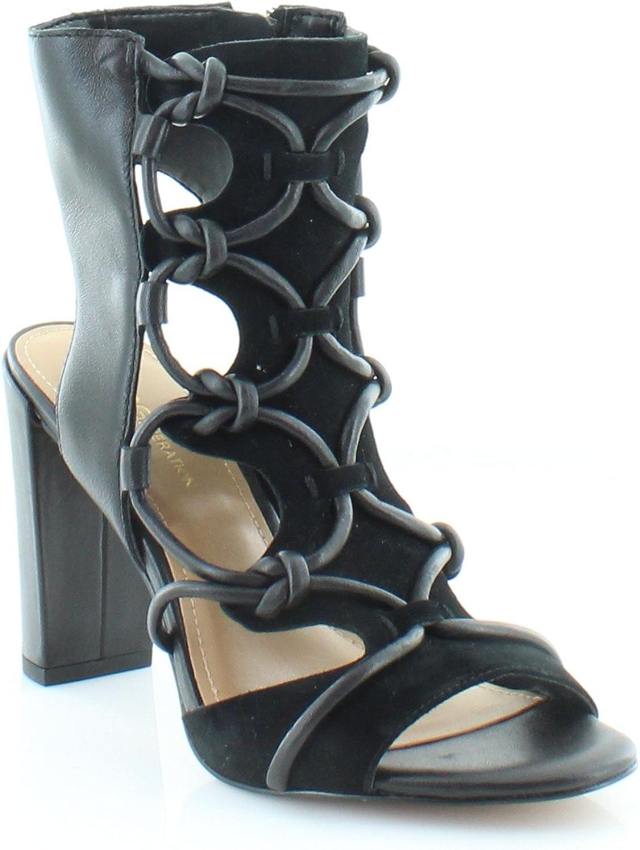 BCBGeneration Faye Peep-Toe Sandals, Black, Size 6.0