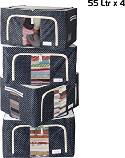 BlushBees® Living Box - Wardrobe Organizer, Cloth Storage Bags with Zip - 55 Litre, Pack of 4, Polka Dots Blue