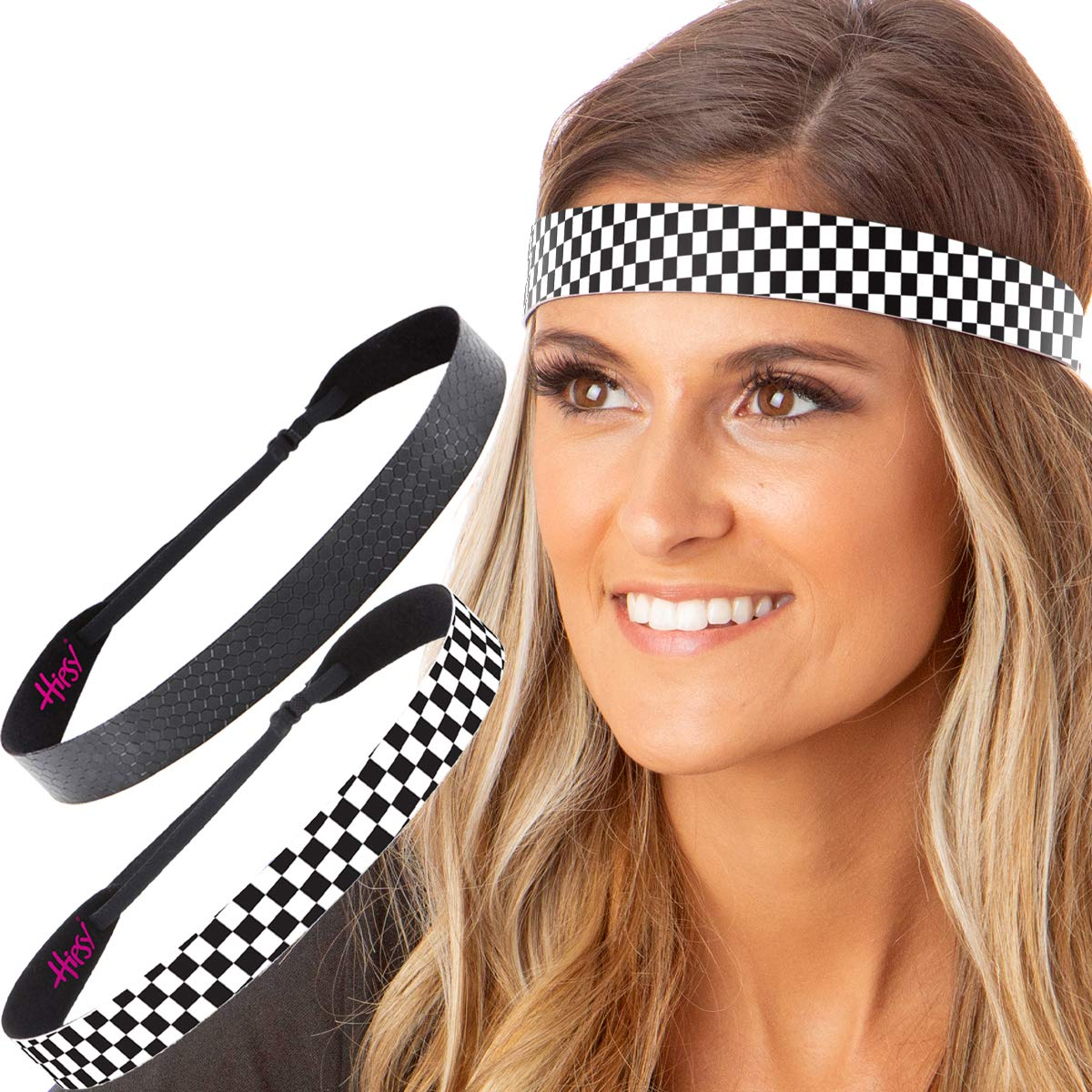 Hipsy Women's Adjustable NO SLIP Checkerboard Wide Fashion Headbands (Wide Black & Black Geo 2pk)