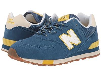 New Balance Kids 574v1-USA (Big Kid) (NB Dark Blue/Chartreuse) Kids Shoes