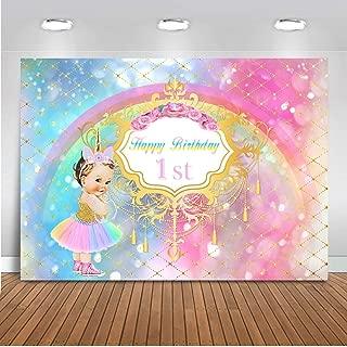Mehofoto Royal Princess 1st Birthday Backdrop Little Unicorn Rainbow Glitter Photography Background 7x5ft Vinyl Baby Girl's First Birthday Party Backdrops Banner
