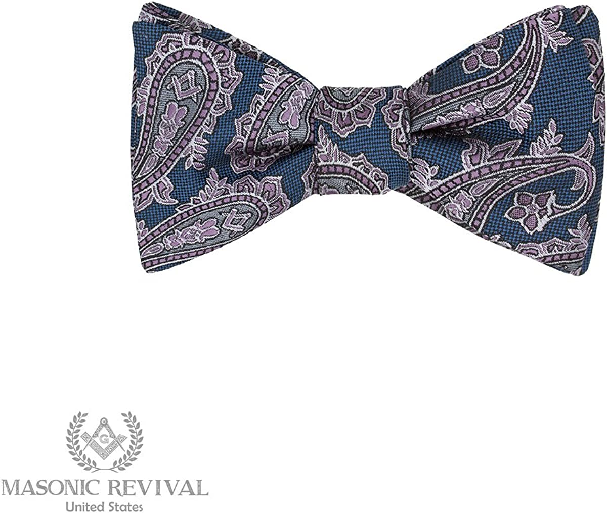 Azul Paisley Bow Tie by Masonic Revival (Standard Self-Tied)