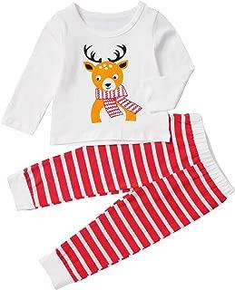 Christmas Kids Baby Girls Clothes Reindeer Print T-Shirt Top+ Stripe Pants 2PCS Set