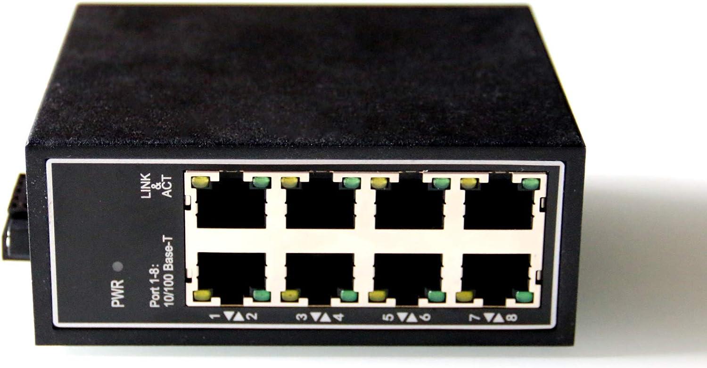 WIWAV WDH-8ET-DC 10/100Mbps Switches Ethernet industriales de 8 Puertos no administrados con riel DIN/Montaje en Pared (Certificación UL, sin Ventilador, -30°C ~ 75°C)