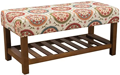 HomePop Upholstered Entryway Bench with Wood Shelf, Orange Suzani