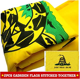 VSVO Gadsden Flag (Don't Tread on Me) American Flag 3x5 ft. with 2-Sided Embroidered for Outdoor Use - Double Sewn Stripes UV Protected