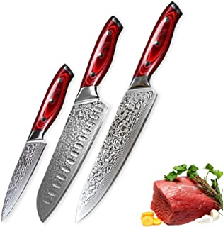 couteau 3 PCS Damas Couteau Set 67 Couches Japonais Damas Steel VG10 Chef Japonais Santoku Utilitaire Couteau de cuisine C...